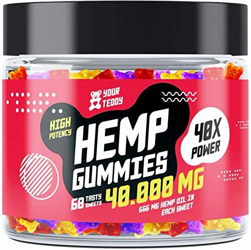 Hemp Gummies - 40000 MG - Pain, Anxiety & Stress Relief with Premium Hemp Extract - Sleep Gummies for Insomnia - Rich in Vitamins B, E & Omega 3-6-9 - Gummy Bears Made in USA