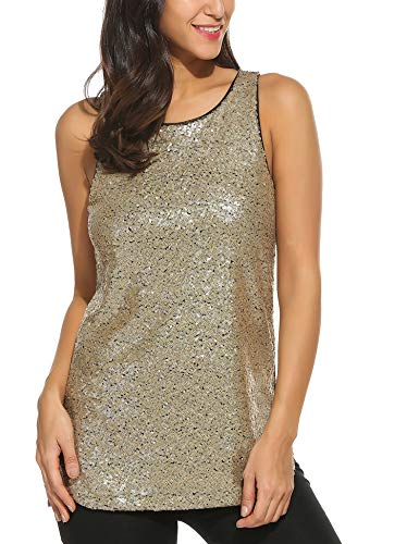 (Zeagoo Women's Sleeveless Sparkle Shimmer Camisole Loose Sequined Vest Tank Tops, 1-gold, X-Large)