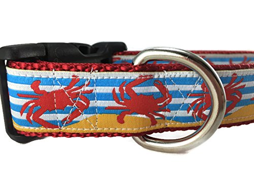 CANINEDESIGN QUALITY DOG COLLARS Ocean Dog Collar, Caninedesign, Quick Release Buckle, 1 inch wide, adjustable, nylon, medium and large (Crabs, Medium 13-19)