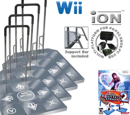 4 x Wii Dance Dance Revolution DDR iON Arcade Metal Dance Pad with Handle Bar + Dance Dance Revoluti