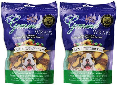 ((2 Pack) Loving Pets All Natural Premium Apple and Chicken Wraps with Glucosamine and Chondroitin Dog Treats, 6 oz)