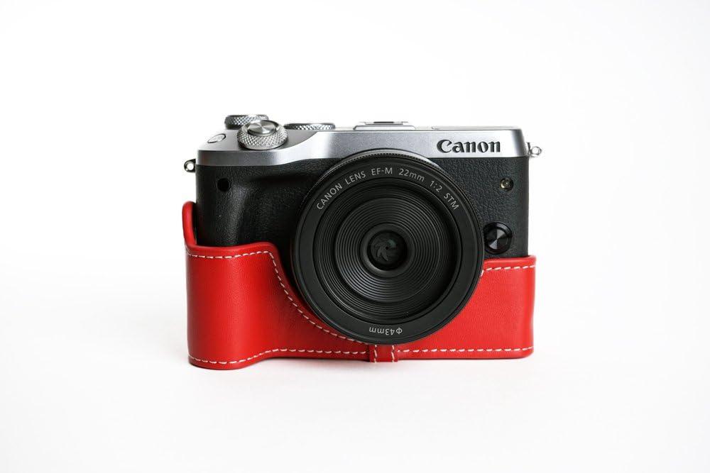 Tp Handgemachte Echte Echte Lederne Halbe Kamera Kasten Beutel Abdeckung Für Canon Eos M6 Rote Farbe