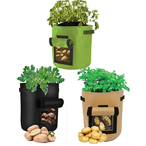 GEMGO Potato Grow Bags 3 Pack, Tomato Planter Bags with Access Flap and Handles, Portable Velcro Window Planting Fabric Pots Containers for Growing Potatoes/Tomatoes(7 Gallon, Green Brown Black)