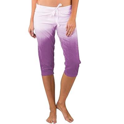 Sinfu Women Summer Casual Gradient Print Capri Pants Drawstring Elastic Waist Sports Yoga Pants Leggings: Clothing