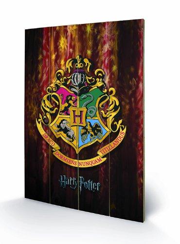 Pyramid Harry Potter - Hogwarts Crest - Wooden Wall Art - 40cm x 59cm (Caravan Bilder)