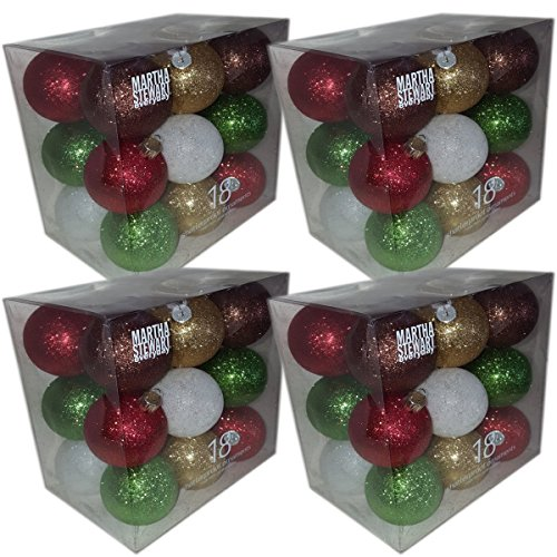 (Martha Stewart Everyday 18 Shatter Proof Ornaments Set of 4 Gift Bundle)