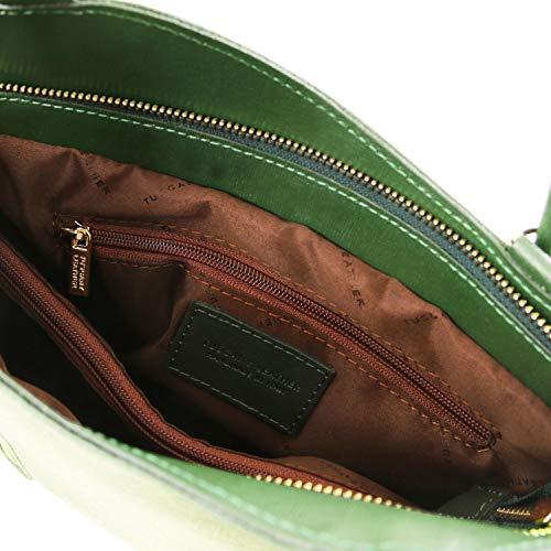 Patty Tuscany azul De Bolso Mochila Oscuro Tl141455 Piel Saffiano Señora Convertible Leather Verde En q5grnq