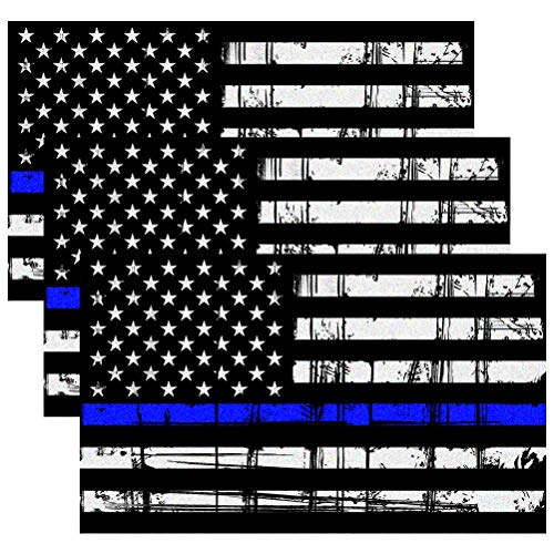 - CREATRILL Reflective Tattered Thin Blue Line Decal Matte Black - 3 Packs 3x5 in. American USA Flag Decal Stickers for Cars, Trucks, Hard Hat, Support Police and Law Enforcement Officers