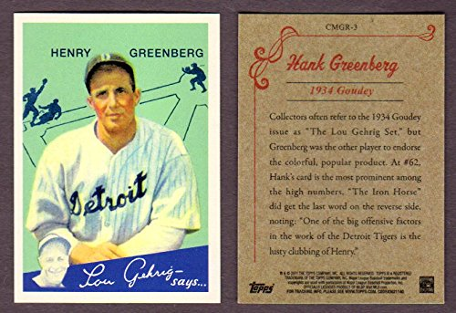 Hank Greenberg 1934 Goudey Baseball Rookie Reprint Card (Reproduced by Topps in 2010) Detroit)