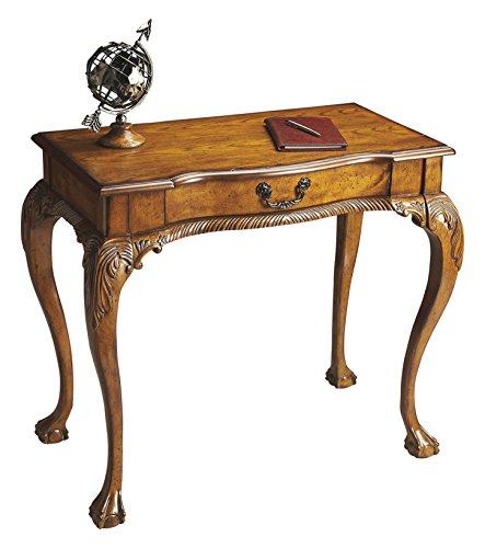 Accent Furniture - Chippendale Style Writing Desk - Vintage Oak Finish - Console Table