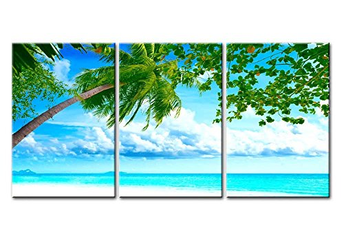 Canvas Print Wall Art Painting For Home Decor Tropical White Sandy Beach Coconut Palm Tree Sea 3 Pieces Panel Modern Giclee Stretched Framed Artwork The Picture Living Room Decoration Seascape Photo