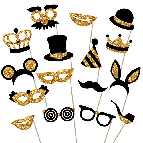 Gold Photo Booth Props (No Glitter) - Fully Assembled, No DIY Required - Mix of Hats, Lips, Mustaches, Crowns and More (16 pcs) - Durable and Vibrant - Perfect for Birthday Parties, Weddings and More