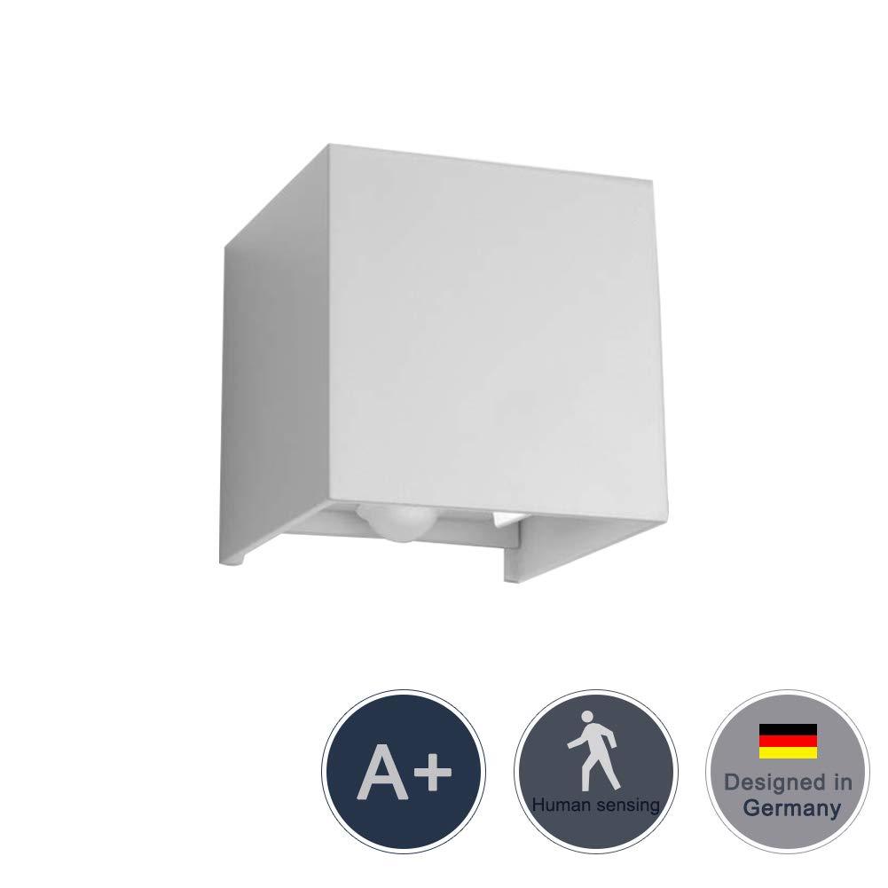 Klighten 12W Wandleuchte Bewegungsmelder Aussen/Bewegungsmelder Innen LED Wandlampe, Einstellbarer Lichtstrahl Aussenlampe, IP65, 220V, Warmweiß Wandleuchte Sensor, Schwarz