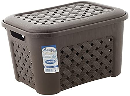 Tontarelli - Arianna Small Multipurpose Basket with Lid 25 LTR - Brown Laundry Baskets at amazon