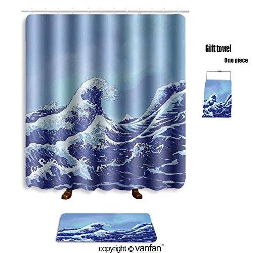 Vanfan Bath Sets With Polyester Rugs And Shower Curtain Japanese Sea Waves Blue Sky 89759926