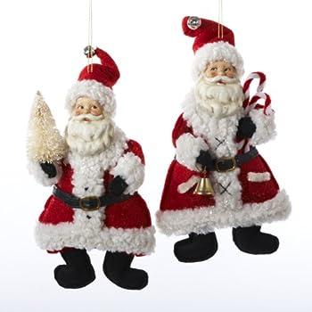 Kurt Adler Red And White Santa Holding Bell And Christmas Tree Ornament Set OF 2
