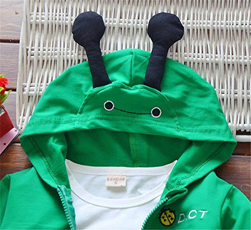 UNIQUEONE 3Pcs Toddler Boys Cute Cartoon Hooded Jacket+T-Shirt+Pant Tracksuit Outfit Size 6-12 Months/Tag80 (Green) by UNIQUEONE (Image #2)