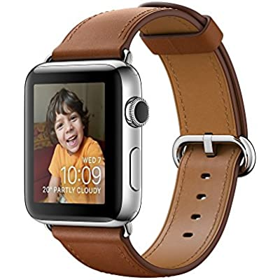 Apple Series Stainless Steel Case Smartwatch with Saddle Classic Buckle Brown