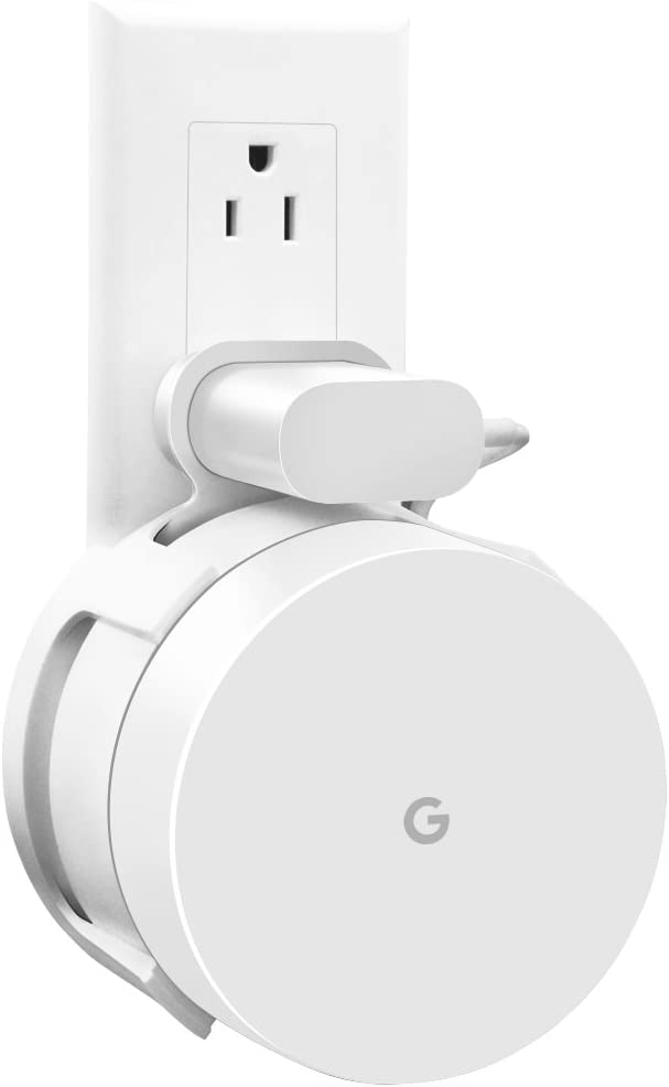 Google WiFi Wall Mount, WiFi Accessories for Google Mesh WiFi System and Google WiFi Router Without Messy Wires or Screws (White(1 Pack))