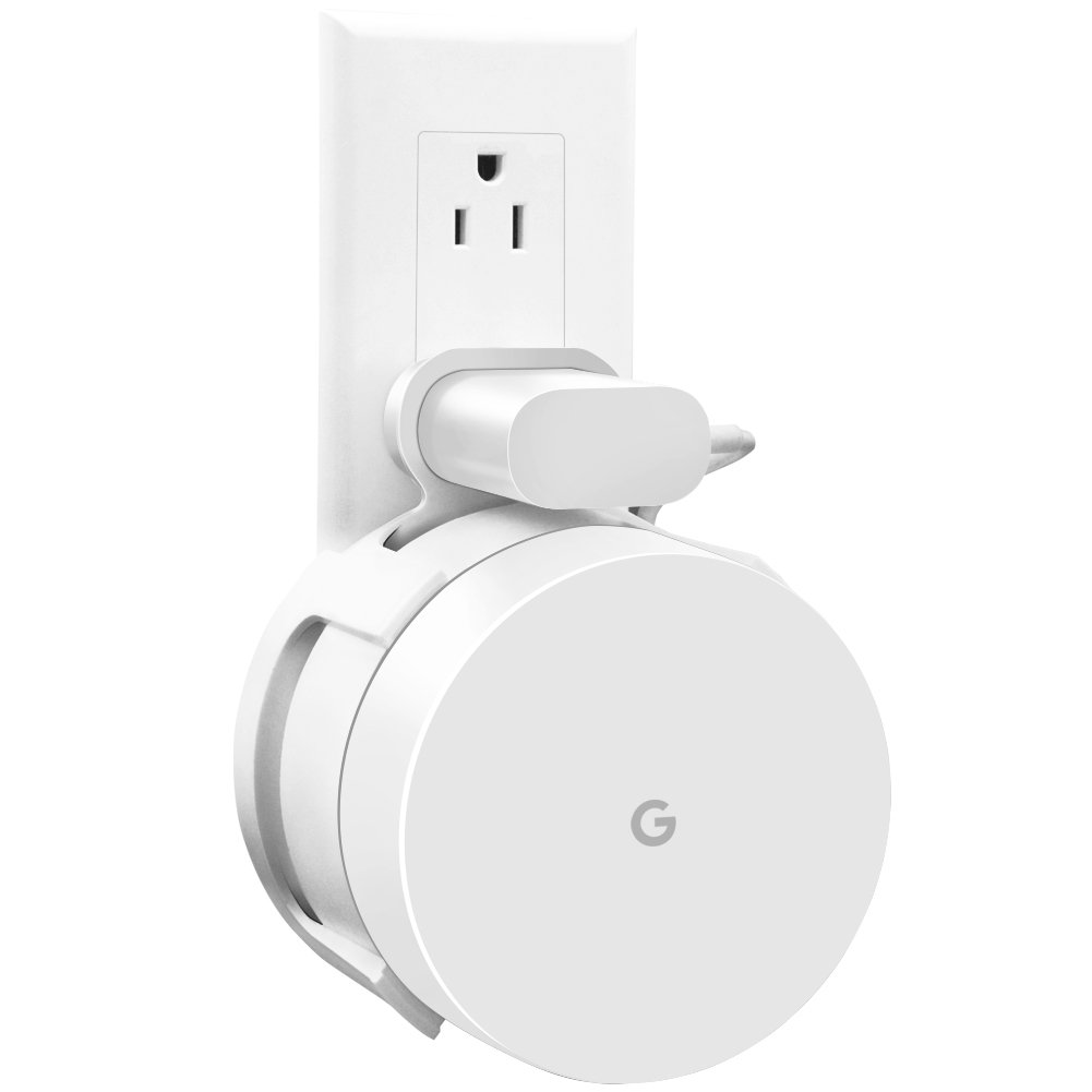 AMORTEK [Upgraded] Google WiFi Wall Mount, WiFi Accessories for Google Mesh WiFi System and Google WiFi Router Without Messy Wires or Screws (White(2 Pack))