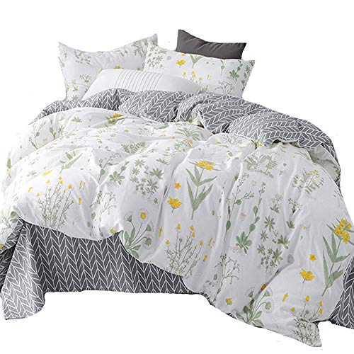 karever Floral Botanical Duvet Cover Sets Bedding Set Boho Queen Cotton Yellow Flower Sets Girls