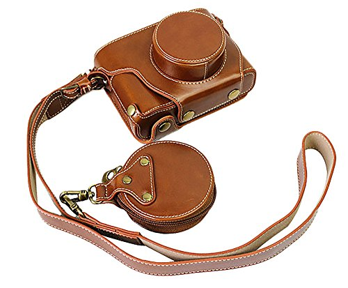 Fuji Bag - Full Protection Bottom Opening Version Protective PU Leather Camera Case Bag For Fuji Fujifilm x100f with Shoulder Strap Brown
