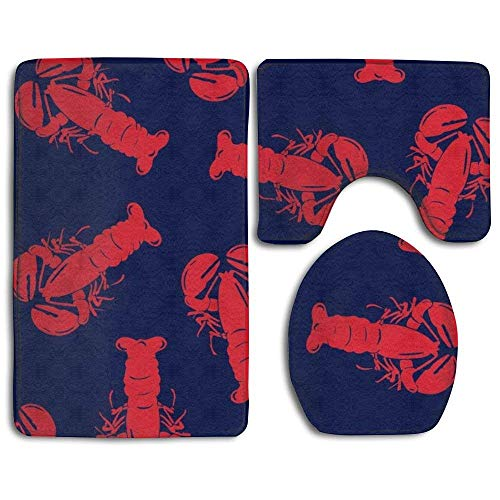 CHA-LRS.BB Boardshorts Red Lobster Decorative Bathroom Rug Mats Set 3 Piece,Funny Bathroom Rugs Graphic Bathroom Sets,Anti-Skid Toilet Mat ()