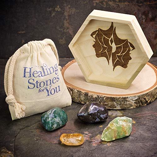Gemini Zodiac Crystals with Handmade Hexagon Wood Dish and Citrine, Green Calcite, Moss Agate, and Merlinite