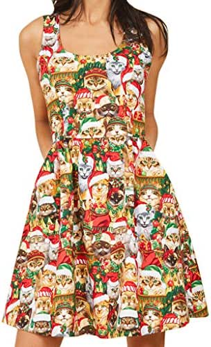 Women O-Neck Cat Christmas Hat Printed Christmas Sleeveless Dress