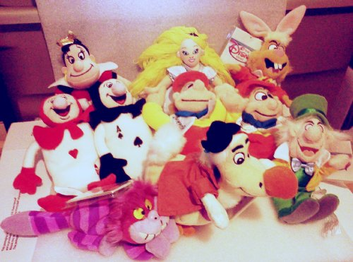 Peter Mad Cat - Hard to Find Disney Set of 9 Alice in Wonderland Bean Bag Plush Dolls Including Cheshire Cat, Alice, Queen of Hearts, White Rabbit, Mad Hatter, Red Ace, Black Ace, Tweedle Dee and Tweedle Dum