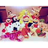 Hard to Find Disney Set of 9 Alice in Wonderland Bean Bag Plush Dolls Including Cheshire Cat, Alice, Queen of Hearts, White Rabbit, Mad Hatter, Red Ace, Black Ace, Tweedle Dee and Tweedle Dum