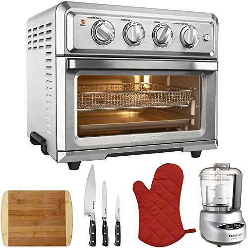 Cuisinart Convection Toaster Oven Air Fryer with Light Silver (TOA-60) with Mini Food Processor, 3 Pc Knife Set, Bamboo Cutting Board, Oven Mitts