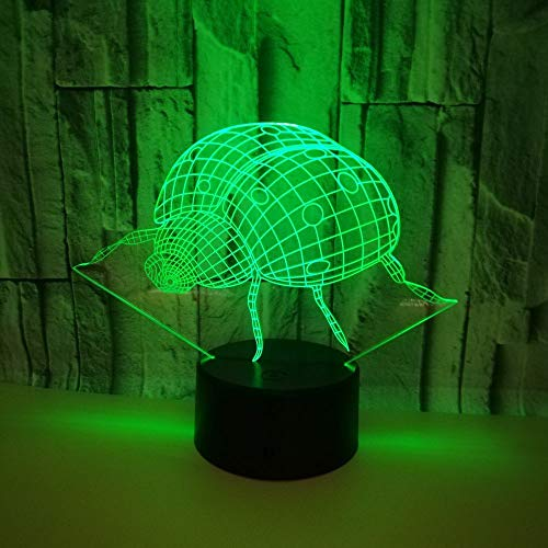 Led8N 3D LED Optical Illusion Lamps Night Light,7 Colour Changing LED Bedside Lamps for Kids with Acrylic Flat,ABS Plastic Base,USB Charger Ladybug