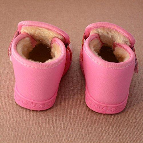 Huhu833 Kinder Mode Jungen Mädchen Stiefel Herbst Winter Warme Mode Kinder Martin Mädchen Jungen Casual Schneeschuhe Rosa