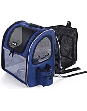 Pecute Cat Carrier Dog Backpack Expandable, Portable Breathable Rucksack with Top Opening-Visible Acrylic-Safety Belt-Pockets, Extendable Back More Space Great For Carrying Puppy Dogs Cats Up to 15KG