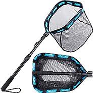 PLUSINNO Floating Fishing Net for Steelhead, Salmon, Fly, Kayak, Catfish, Bass, Trout Fishing, Rubber Coated L