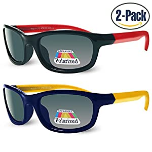 Sunggles Kids Polarized Cateye or Aviator Sunglasses for Girls & Boys Age 3 to 10,Pack of 2 (Boys : Black & Blue, Black)