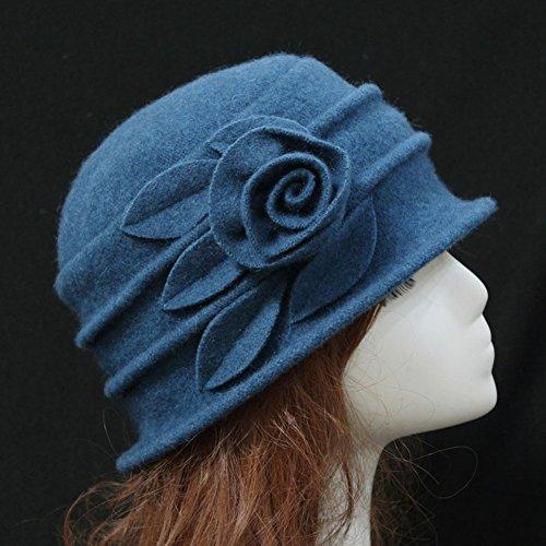 4680722a36aa2 Ealafee Women Blue Real Wool Berets Beanies Cloche Fedoras Flower Top Hats  Cap at Amazon Women s Clothing store