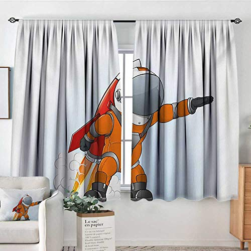 Fantasy Thermal Insulating Blackout Curtain Astronaut Man Going to Space with Rocket Galactic Journey Science Illustration Kid Blackout Curtains 72