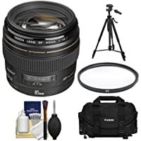 Canon EF 85mm f/1.8 USM Lens with Canon Case + UV Filter + Tripod + Cleaning Kit for EOS 6D, 70D, 5D Mark II III, Rebel T3, T3i, T4i, T5, T5i, SL1 DSLR Cameras