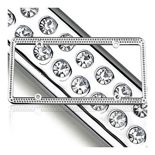 Swarovski Clear Crystal Bling license plate frame Inlay With Matching Screw Caps