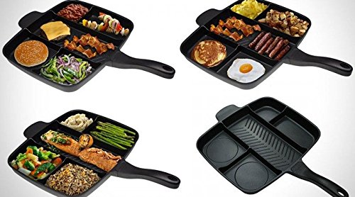 OUNONA 5 in 1 Frying Pan NonStick Divided Sectional Meal Skillet Grill Fry Oven Omelet Pan Pot Cooking Tool