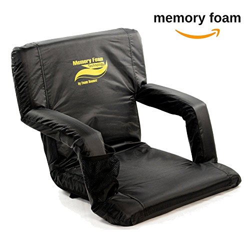 "Extra Wide Armrest - Memory Foam Stadium Bleacher Seat with Back & Armrest | Extra Wide Feature Adds 6"" More Seating 