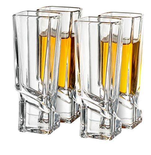 JoyJolt Carre Shot Glasses Square Heavy Base Shot Glass Set Of 4, 1.8-Ounce by JoyJolt
