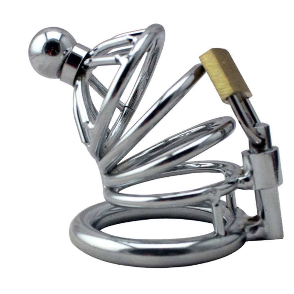 Dispositivos de castidad Metal Castidad Juguetes sexuales Anticuerna Jaula Anticuerna sexuales Restricción Manganeso Stee Pene Jaula (Color : La Plata) 78c266