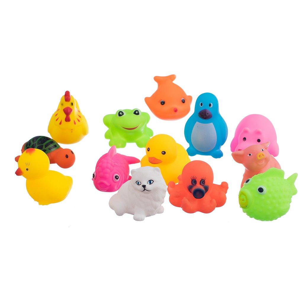 13 Piezas Juguetes de Caliente Flotador Animales Sqeeze Lavado Baño de Sonido Plástico Bebé: Amazon.es: Juguetes y juegos
