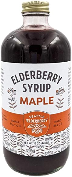 Elderberry Syrup with Maple Organic Ingredients, Vegan Gluten-Free for Kids Adults, Immunity Boosting, 16oz