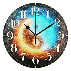 ZZKKO Galaxy Wall Clock, Silent Non Ticking Battery Operated Easy to Read Decorative Wall Clock for Kitchen Bedroom Bathroom Living Room Classroom