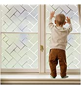 Coavas Window Film Privacy Static Clings Herringbone Compare to One Way Window Film Sun Blocking/...