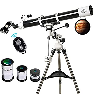 Telescope, 90mm Astronomy Refractor Telescopes with Smartphone Adapter & Wireless Camera Remote - Perfect for Children Educational and Gift